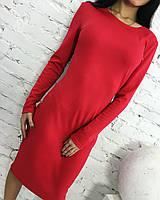 Женское однотонное платье до колен