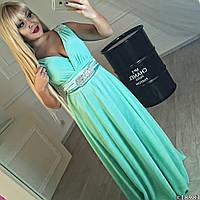 Женское платье ткань шифон на плечах и на поясе стразы стекло на силиконе