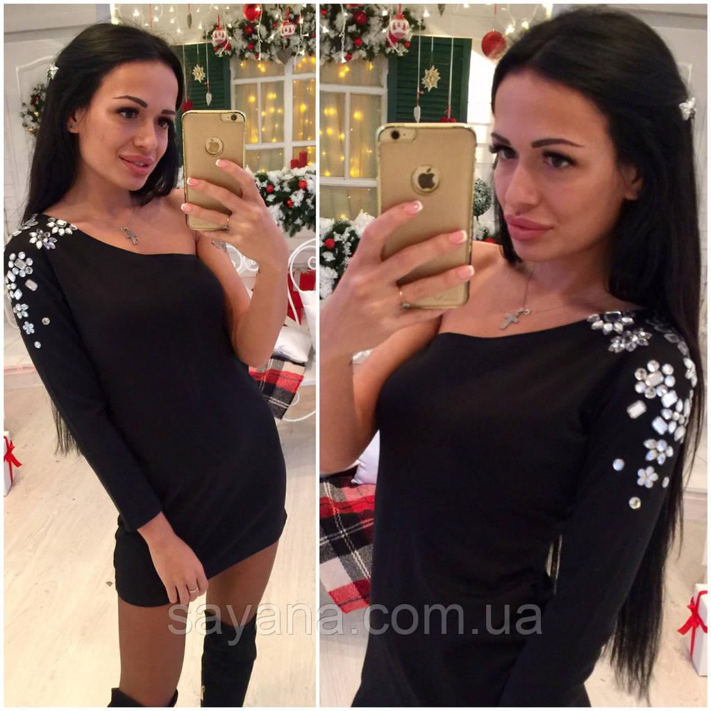 """Стильное платье """"камни"""" - 1рукав"""