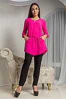 Яркая женская блуза Демми из креп-шифона свободного кроя с пояском на талии 44-52 размера, фото 1