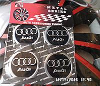Наклейка эмблема АУДИ  на колесный диск / колпак d 60 мм