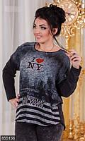 Молодежная женская кофта свободного фасона с модным принтом рукав длинный турецкий трикотаж батал Турция