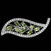 Хризолит зеленое яблоко, серебро 925, брошь, 086ПХ
