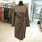 Платье терлое из твида с поясом и драпировкой для офиса пл 149-2, фото 3