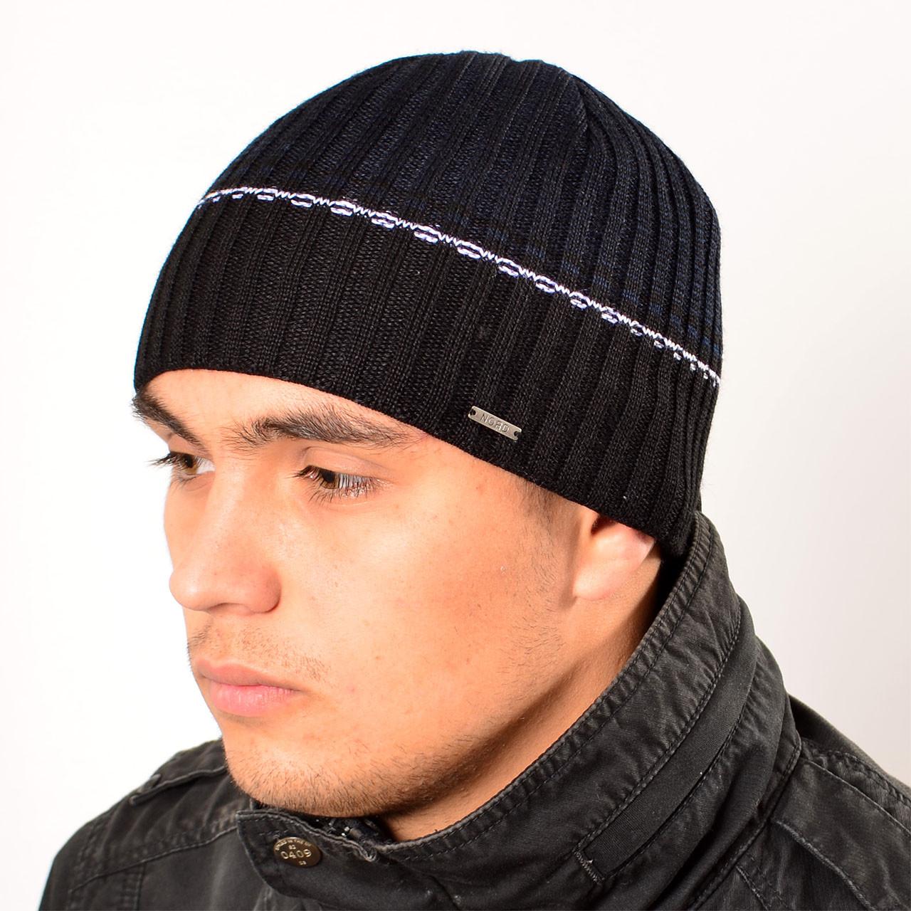 Мужская вязанная шапка на флисе, темн.джинс, Nord