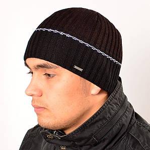 Мужская вязанная шапка на флисе,Коричневий, Nord