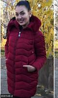 Актуальная женская куртка прямого фасона на молнии со съемным капюшоном плащевка холлофайбер батал