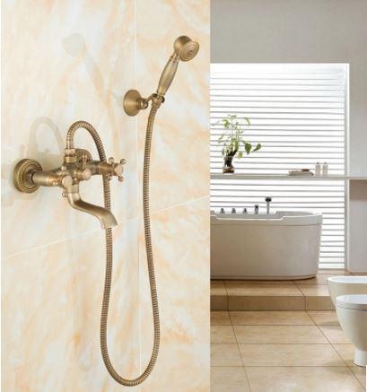 Смеситель кран в ванную комнату с лейкой для душа бронза
