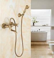 Смеситель кран в ванную комнату с лейкой для душа бронза, фото 1