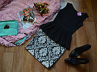 Костюм юбка-принт орнамент + кофта-баска с вырезом на спине