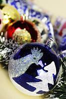 Шарик новогодний 6-6-П-8 с рисунком елки и петуха 6цв(8см)п