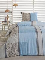 Сатиновое постельное белье Eponj Home Classic Riziko голубое полуторного размера