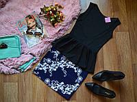 Костюм юбка-принт цветы диагональ + кофта-баска с вырезом на спине