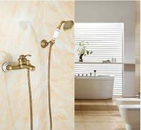 Смеситель кран бронза в ванную комнату с лейкой, фото 1