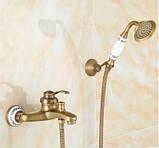 Смеситель кран бронза в ванную комнату с лейкой, фото 2