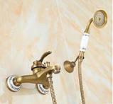Смеситель кран бронза в ванную комнату с лейкой, фото 3