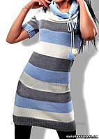 Вязанное платье-туника в молочно-голубую полоску, пр-во Украина
