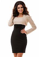 Деловое платье-костюм с гипюром 44,46,48,52,54