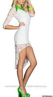Туника гипюровая + мини платье, 2 в 1, цвет белый