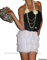 Коктельное платье-оборка бело-черное, с поясом
