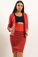 Женский замшевый костюм-двойка юбка с завышенной талией и жакетом 42-52 размер