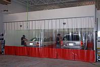 Шторы на автомойку. Пвх650D. Комбинация прозрачного и непрозрачного пвх.
