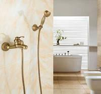 Смеситель кран в ванную комнату однорычажный с лейкой бронза 0143