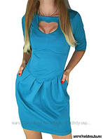 Платье голубое, с вырезом в форме сердца