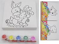 """Холст C1515 -шаблон 15х15см + 6цветов краски +кисти """"Зверята"""""""