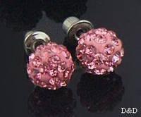 Серьги-гвоздики шамбала розовые