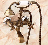 Смеситель для ванны с лейкой бронза 0147, фото 2