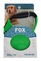 Поводок-рулетка с прорезиненной ручкой для крупных и средних пород собак 5 м до 40 кг лента FD706-5M зеленый