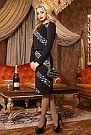 Женское приталенное чёрное платье с жакетом + большой размер