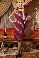 Женское приталенное платье бордо с жакетом + большой размер