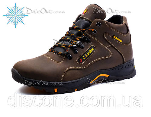 Зимние ботинки Columbia мужские, на меху, натуральная кожа, коричневые, р. 40