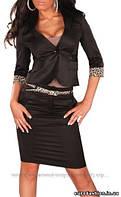 Стильный женский костюм с леопардовым поясом, Турция