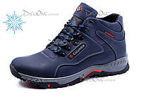 Зимние ботинки Columbia мужские, на меху, натуральная кожа, темно-синие, р. 40