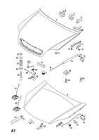 Буфер (упор, отбойник) капота резиновый боковой GM 1160705 24435372 OPEL Meriva-A Vectra-C Signum
