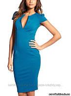Элегантное голубое платье, (короткий рукав), с треугольным вырезом декольте