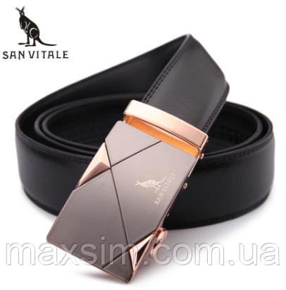 Мужской кожаный ремень из натуральной кожи San Vitale с автоматической пряжкой, фото 2