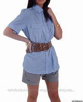 Сорочка классическая, голубая, сток Stradivarius