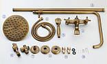 Душевая стойка со смесителем лейкой и верхним душем в бронзе 0184, фото 2