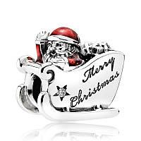 "Шарм ""Санта-Клаус на санях"" из серебра Pandora, 792004CZ"