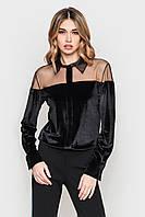 Нарядная черная женская блуза из велюра
