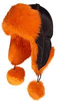 Женская шапка ушанка из меха кролика оранжевая.