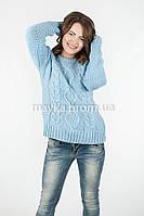 Модный Свитер объемная вязка р.46-48 цвет голубой N14-1