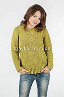 Модный Свитер объемная вязка р.46-48 цвет оливковый N14-4