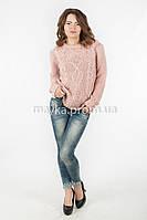 Модный Свитер объемная вязка р.46-48 цвет пудра N14-6