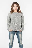Модный Свитер объемная вязка р.46-48 цвет серый N14-3