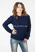 Модный Свитер объемная вязка р.46-48 цвет темно-синий N14-2